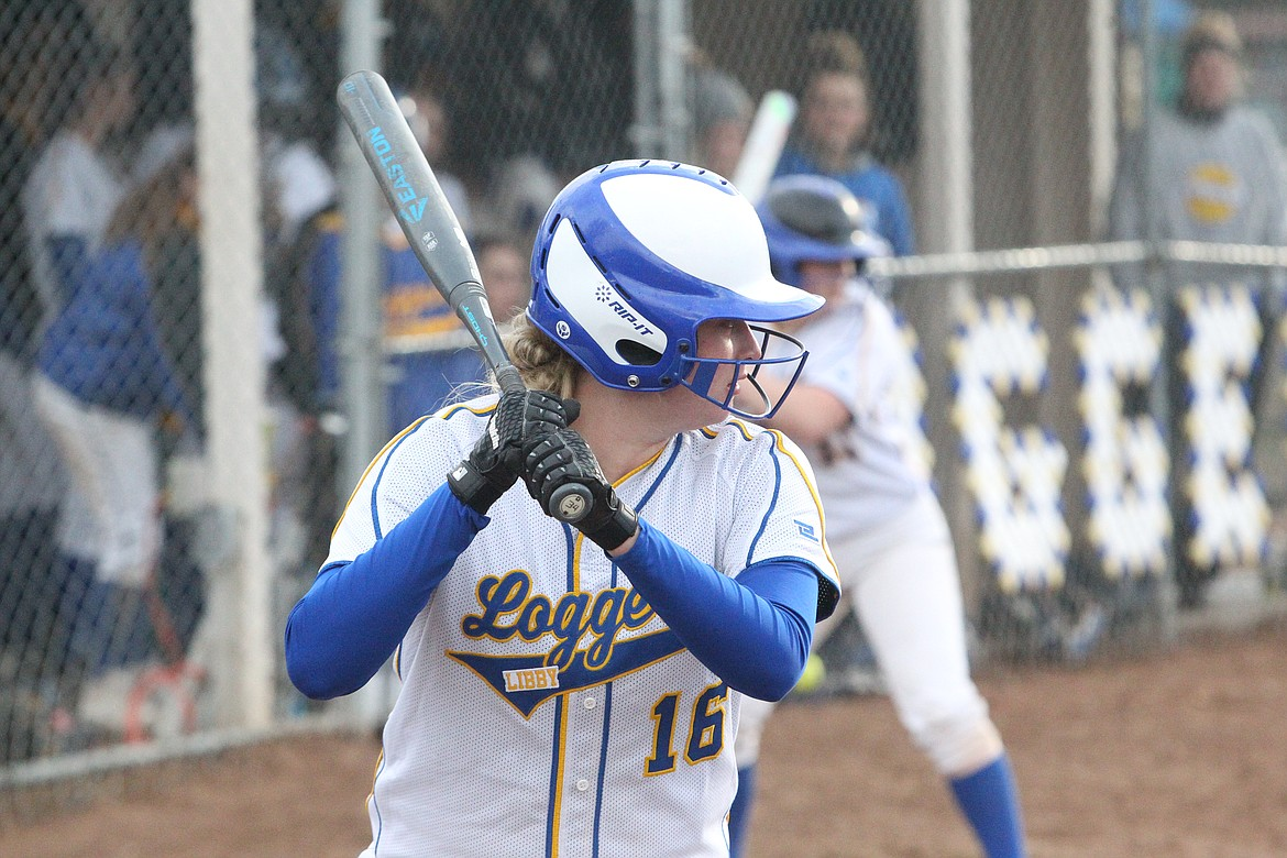 Taylor Munro waits for a pitch during a Lady Loggers game in April. (Will Langhorne/The Western News)