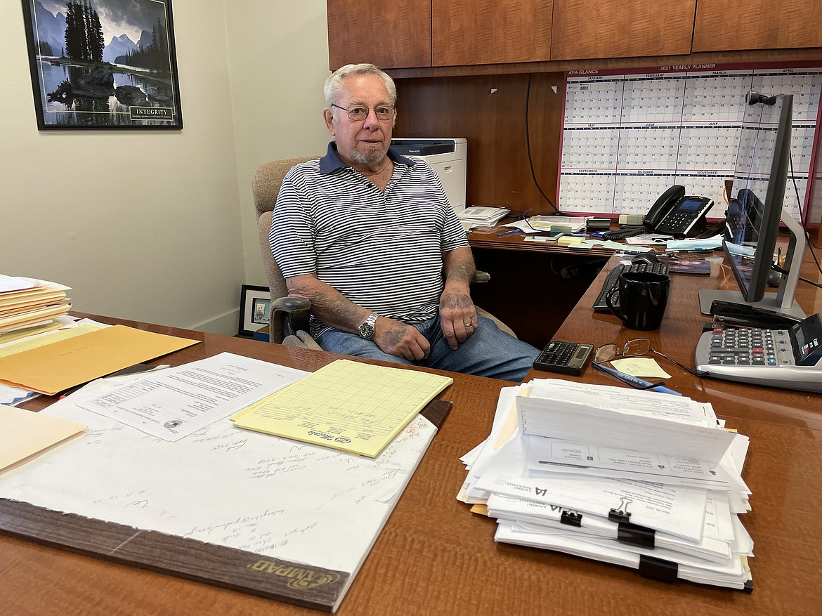 Bob Fancher, original board member and former president of the Grant County Economic Development Council, at his desk at Maiers Enterprises out on Wheeler Road in Moses Lake.