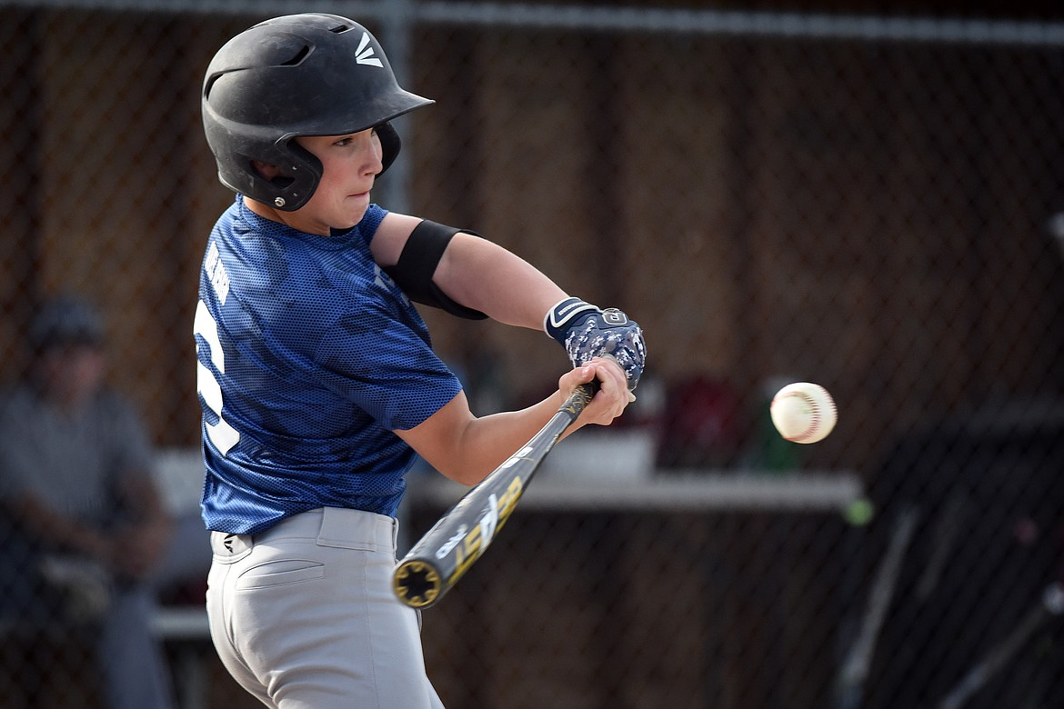 Quinn Kerr takes a swing in the fifth inning against Whitefish Monday. Jeremy Weber/Bigfork Eagle