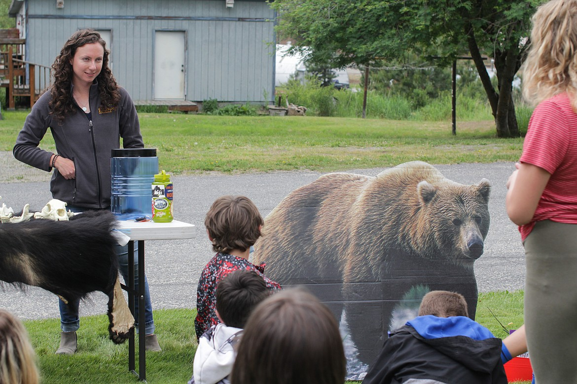 Biologist Megan Wright with the Kalispel Natural Resources Department gives a presentation on bear safety Wednesday at Idaho Hill Elementary.