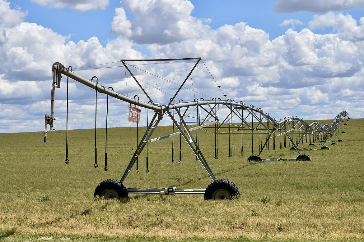 An eight-tower Zimmatic pivot irrigation rig located in a field along Road W south of Wilson Creek.