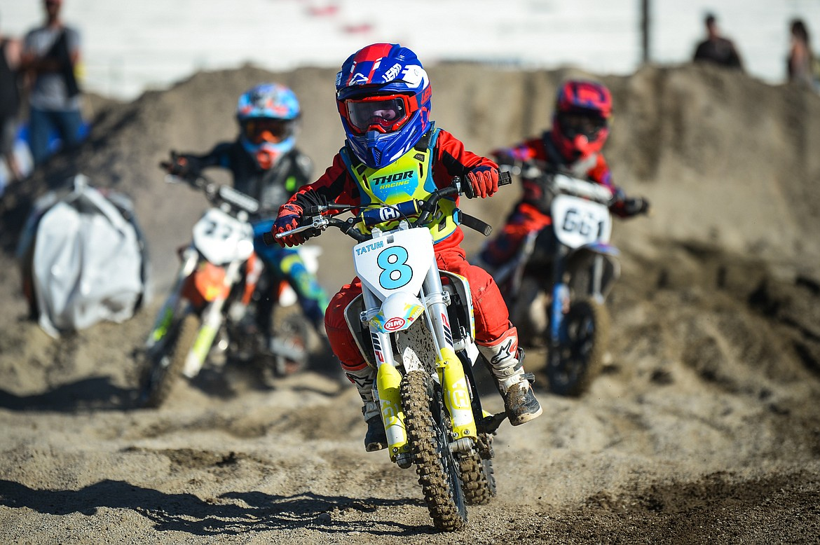 Riders compete during Top Dawg Arena Cross at the Northwest Montana Fairgrounds in Kalispell on Friday, June 18, 2021. (Casey Kreider/Daily Inter Lake)