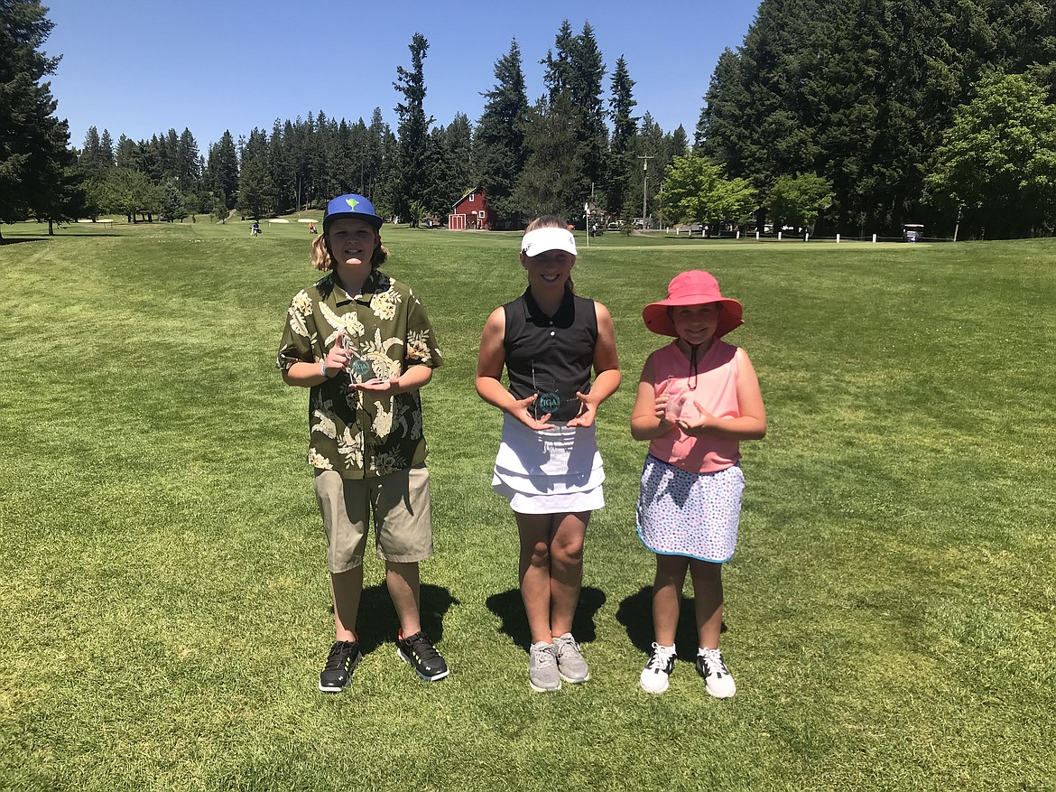 Courtesy photo Top-three finishers in the girls age 10-11 division were honored at an Idaho Junior Golf Association tournament Monday at Avondale Golf Club in Hayden Lake.  From left are Jossetta Williams, second place; Ella Wilson, first place and Kamdyn Kelley, third place.