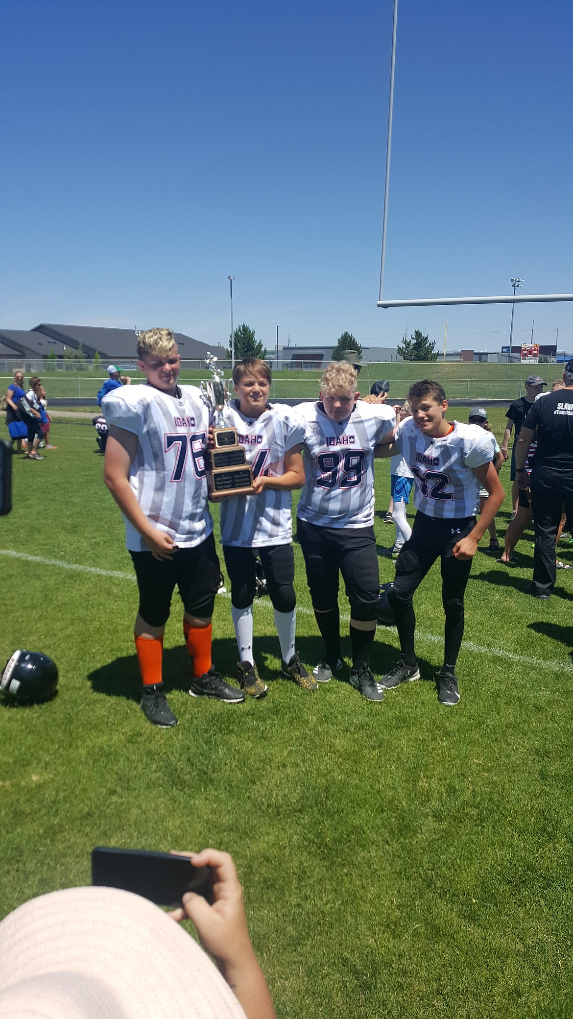 Courtesy photo A handful of Post Falls players played for Team Idaho in the seventh-grade all-state all-star football game last Saturday at the College of Southern Idaho in Twin Falls. Team Idaho (players from other than the Boise area) defeated Team Treasure Valley (Boise-area players) 25-12 in the championship game. Pictured from left are Xander Scholes, Alex Dean, Skyler Hanse and Brandon Felix. Not pictured is Josh Hasty. All-star games were also held in the sixth- and eighth-grade divisions.