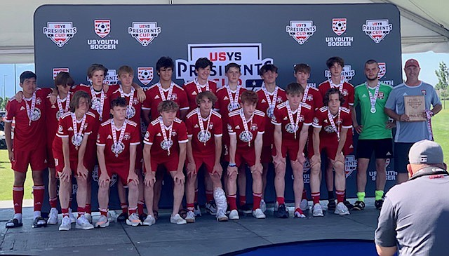 Courtesy photo  The Timbers North FC 05 boys Red soccer team finished second in the U16 division at the U.S. Youth Soccer Far West Presidents Cup last week in Salt Lake City. In the front row from left are Marcus Noble, Connor Jump, Nate Wyatt, Chet Hanna, Caden Thompson, Bryce Allred and Jacob Ukich; and back row from left, Sebastian Baker, Landon Lee, Griffyn Rider, Isaac Fritts, Sterling Roget, Ashton Ukich, Seth Johnson, Cooper Prohaska, Ethan Wood, Jacob Molina, Miles Taylor and head coach Mike Thompson.