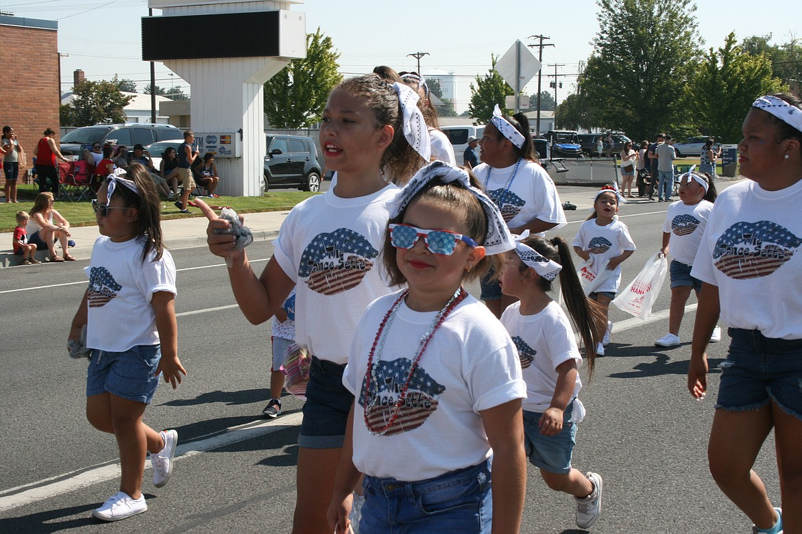 Members of the Dance Sette dance group brought their red, white and blue to the Independence Day parade in Othello Saturday.