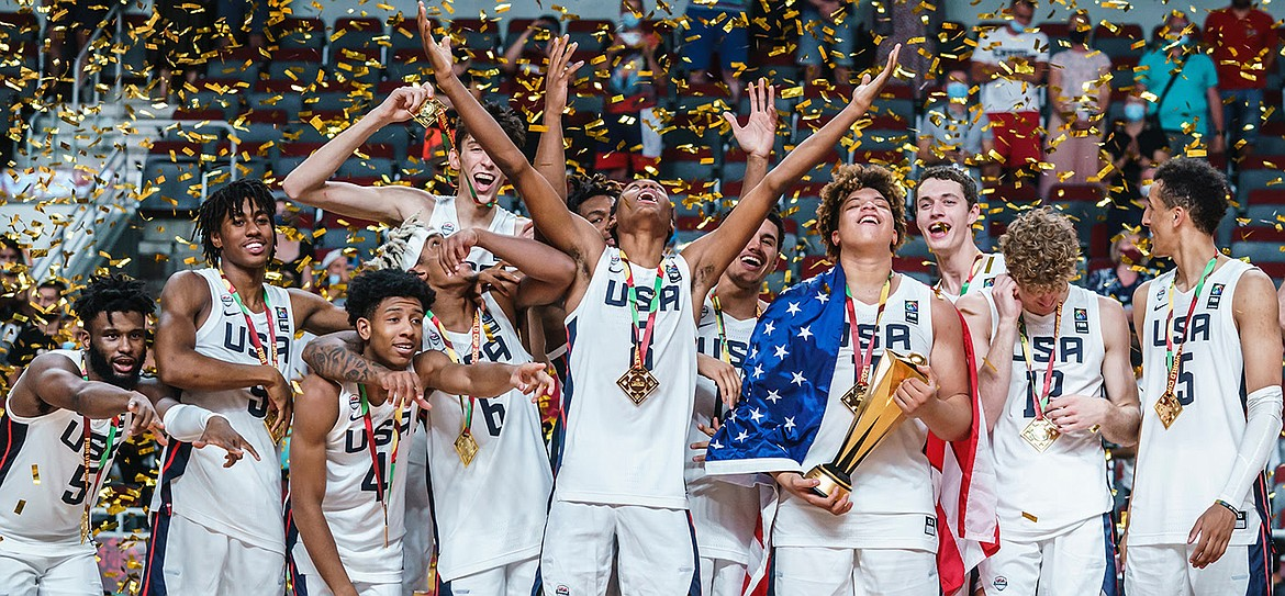 Photo courtesy USA Basketball Incoming Gonzaga freshman Chet Holmgren, left rear, and his teammates celebrate after the USA won the 2021 FIBA U19 World Cup for Men in Riga, Latvia, on Sunday.