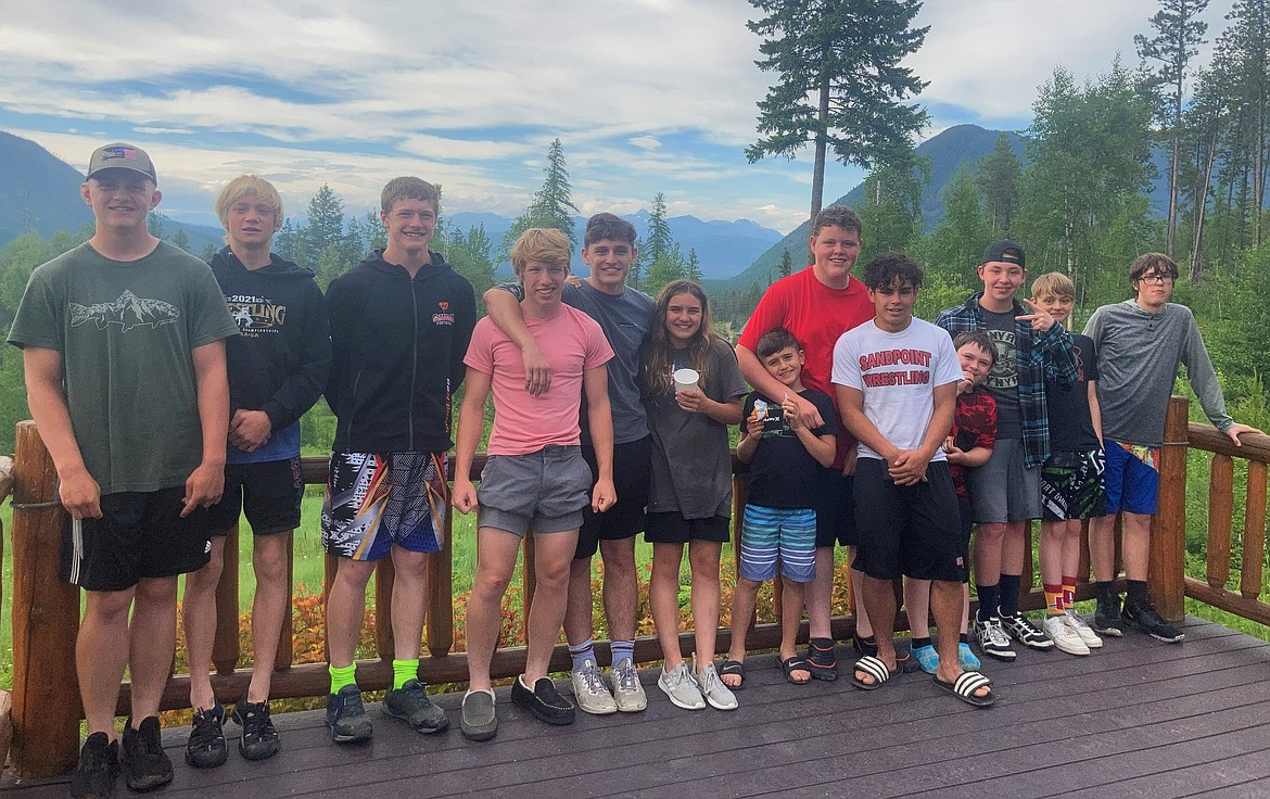 A group of Sandpoint wrestlers pose for a photo while taking part in the Montana Intensive Wrestling Camp on June 21-25 in Kalispell.