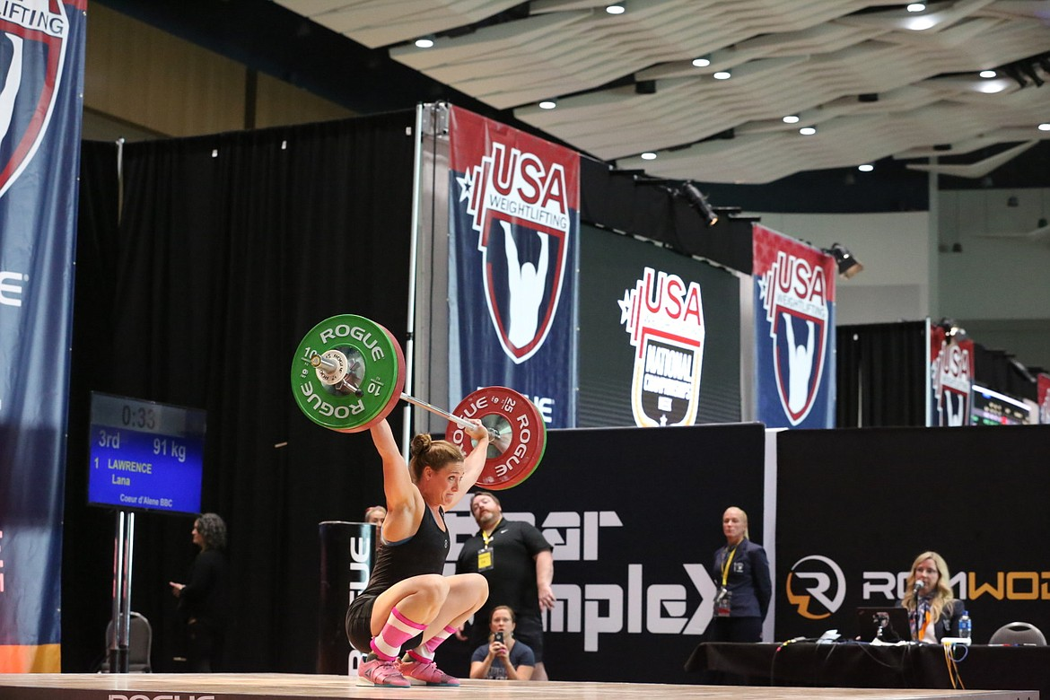Courtesy photo Lana Lawrence of Coeur d'Alene competes at the recent USA Weightlifting Nationals in Detroit.