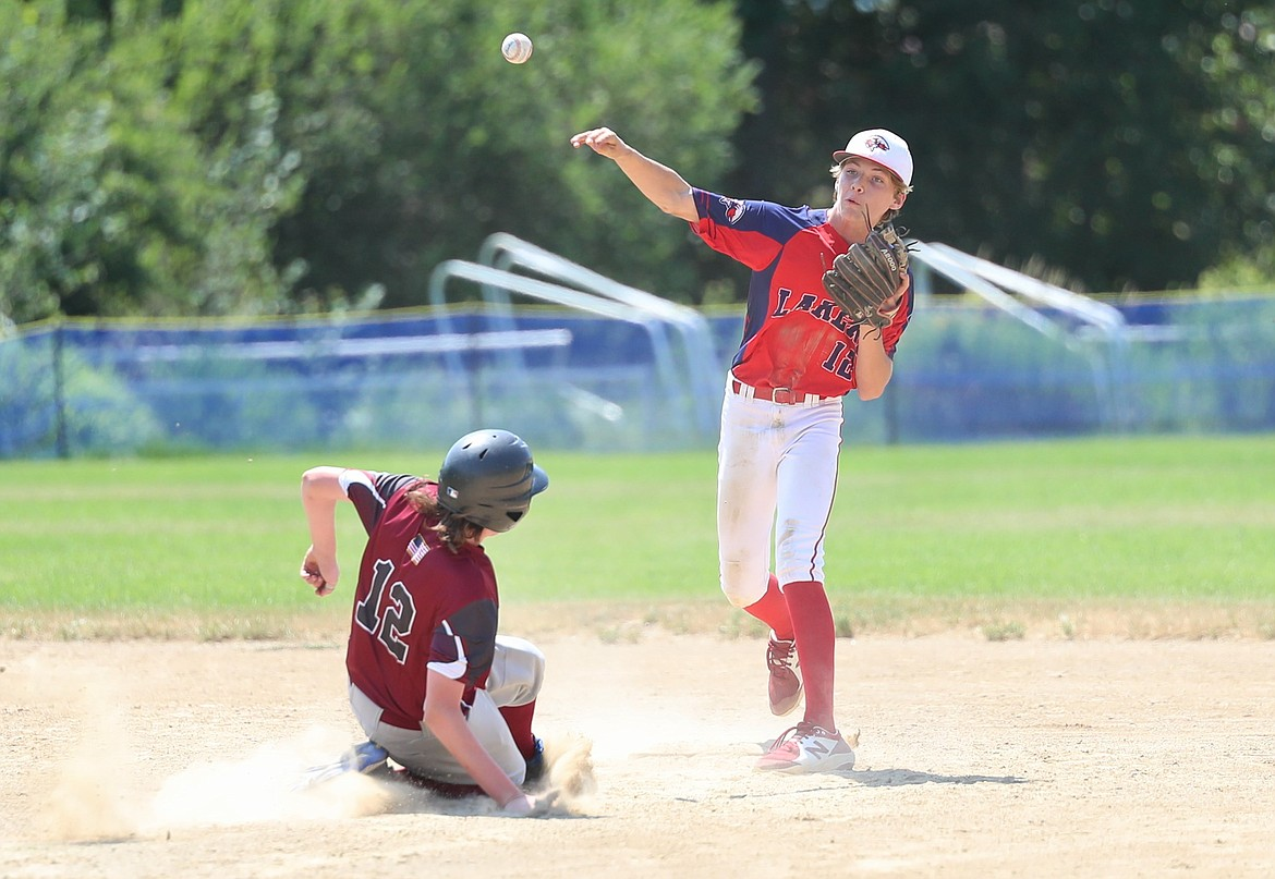Brady Newhart throws to first base to complete a double play on Friday.