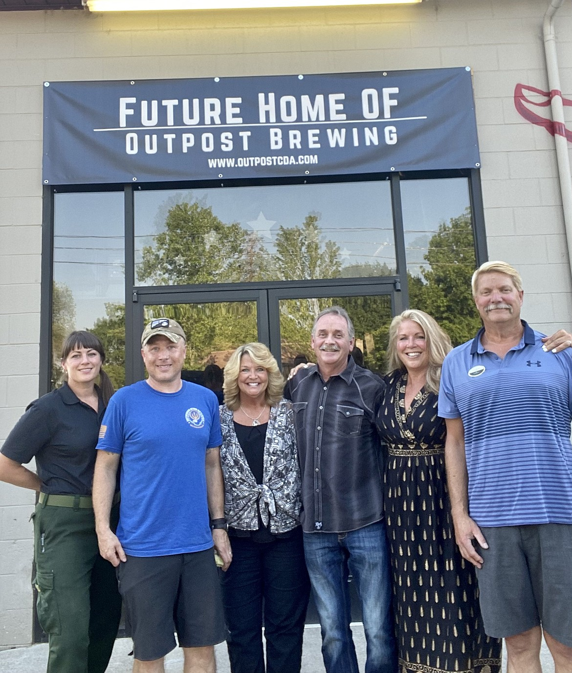 Courtesy photo From left, Ashley McCarthy, Chris McCarthy, Michelle Ourada, Duke Ourada, Tracey Tindall and John Tindall are the owners and partners of Outpost Brewing, 1710 N. Fourth St., Suite 115, in Coeur d'Alene.