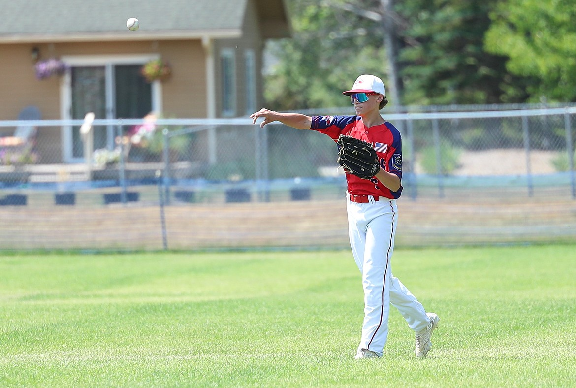 Tyson Troudt makes a throw from the outfield on Friday.
