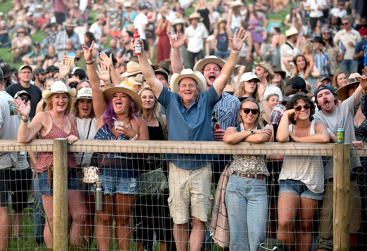 Fans cheer as they watch The Lil Smokies perform at the Under The Big Sky Festival in Whitefish on Saturday. (Whitney England/Whitefish Pilot)