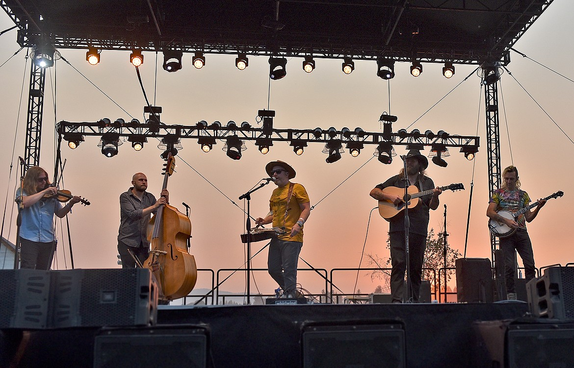 The Lil Smokies perform in the sunset at the Under The Big Sky Festival in Whitefish on Saturday. (Whitney England/Whitefish Pilot)
