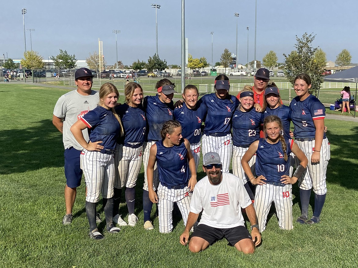 Photo courtesy Bob Schmidt The Lake City Thunder 16U team of Coeur d'Alene went 5-0 last weekend to win the Best of the West softball tournament  in Pasco, Wash., beating the Washington Angels 6-3 in the championship game. The Thunder opened on Saturday with a 12-0 victory over the Wildcats TC, as Kristine Schmidt and Matea Dorame combined on a no-hitter. Kailey Cramer hit a two-run homer, and Addie Brannen went 3 for 3 and stole three bases. The Thunder then edged the Liberty Lake Lightning 8-5. Layla Gugino, Megan Highfill and Brooklyn Wullenwaber each homered for the winners. The Thunder then beat the NCW Sun Devils 11-1, as Cramer drove in four runs and Highfill went 3 for 3. The Thunder then beat the Oregon Titans 15-5 on Sunday, as Catherine Bakken went 4 for 4 with a homer and two doubles. Dorame also homered. In the finals, the Thunder defeated the other undefeated team, the Washington Angels, with Schmidt getting the win in the circle. Bakken homered for the Thunder, Katie Berg singled in two runs, and Bakken and Brannen each finished with two hits. In the front row from left are Katie Berg, coach Mike Dorame and Layla Gugino; and back row from left, coach Morgan Gugino, Kailey Cramer, Delaney Gosch, Matea Dorame, Kristine Schmidt, Brooklyn Wullenwaber, Addie Branen, coach Levi Wullenwaber (in back), Megan Highfill and Catherine Bakken. Not pictured is Kate Boyer.