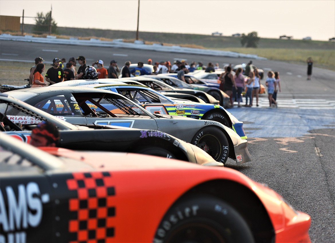 The cars were all lined up facing the grandstands prior to the race. (Scot Heisel/Lake County Leader)