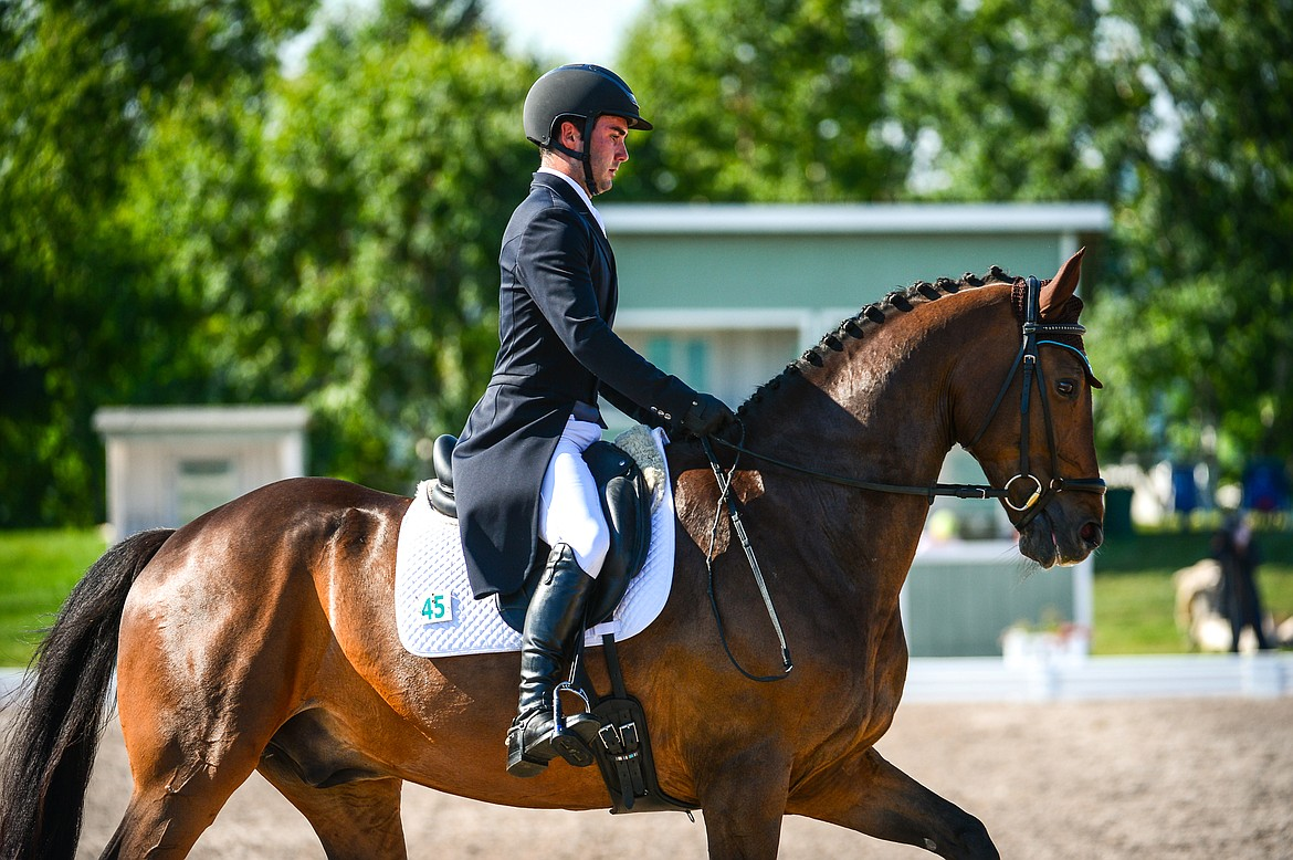 Tommy Greengard rides Joshuay MBF during CCI2*-Long dressage at The Event at Rebecca Farm on Thursday, July 22. (Casey Kreider/Daily Inter Lake)
