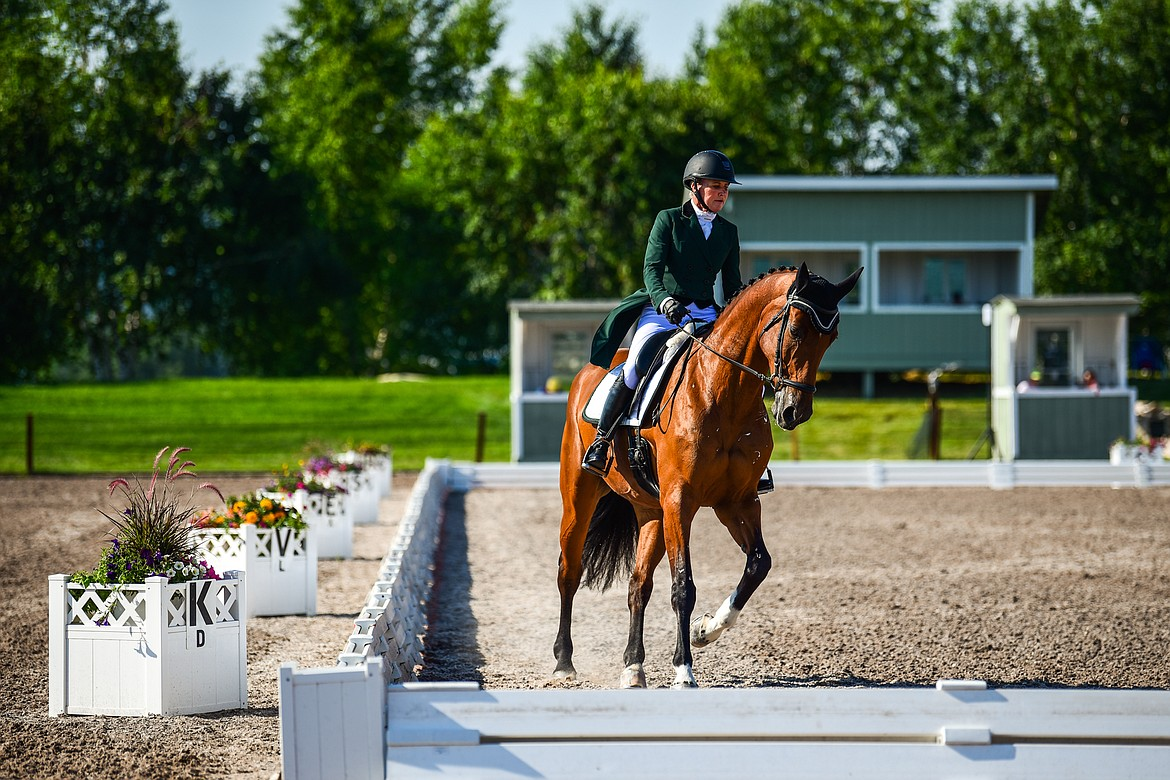 Betsey Bennitt Strohl rides Zia during CCI2*-Long dressage during The Event at Rebecca Farm on Thursday, July 22. (Casey Kreider/Daily Inter Lake)
