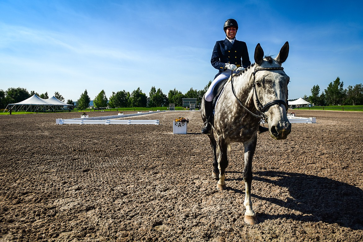 Ella Kurtz rides Sportsfield Harley Davis out of the arena after their performance in CCI2*-Long dressage at The Event at Rebecca Farm on Thursday, July 22. (Casey Kreider/Daily Inter Lake)