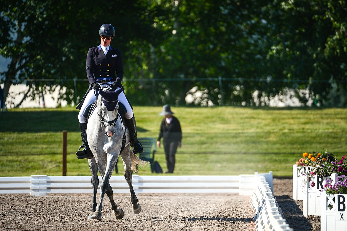 Maya Black rides Double Diamond C  during CCI2*-Long dressage at The Event at Rebecca Farm on Thursday, July 22. (Casey Kreider/Daily Inter Lake)