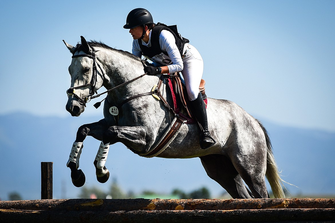 Bailie Corless clears a jump on Icelandic during Senior Open Novice C cross-country at The Event at Rebecca Farm on Thursday, July 22. (Casey Kreider/Daily Inter Lake)