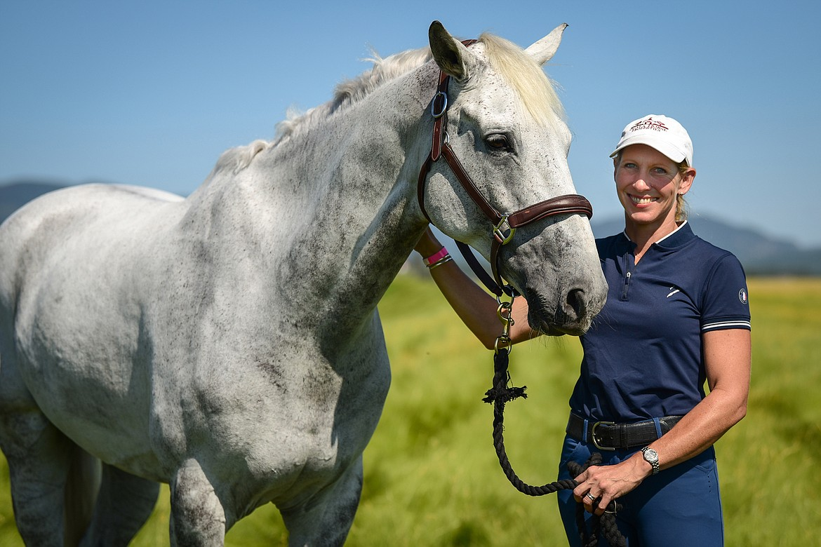 Elisabeth Halliday-Sharp with Cooley Quicksilver, who is owned by the Monster Partnership, during The Event at Rebecca Farm on Thursday, July 22. (Casey Kreider/Daily Inter Lake)