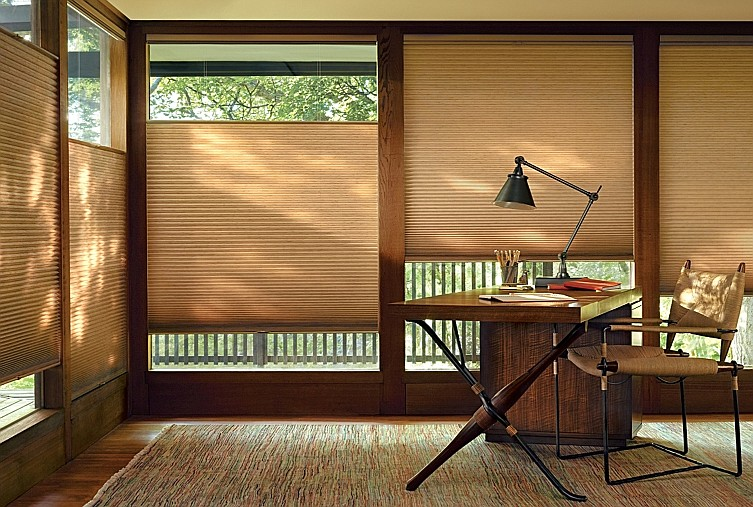 Honeycomb shades like the ones pictured are some of the more popular choices for customers looking to replace their shades or blinds in their home.