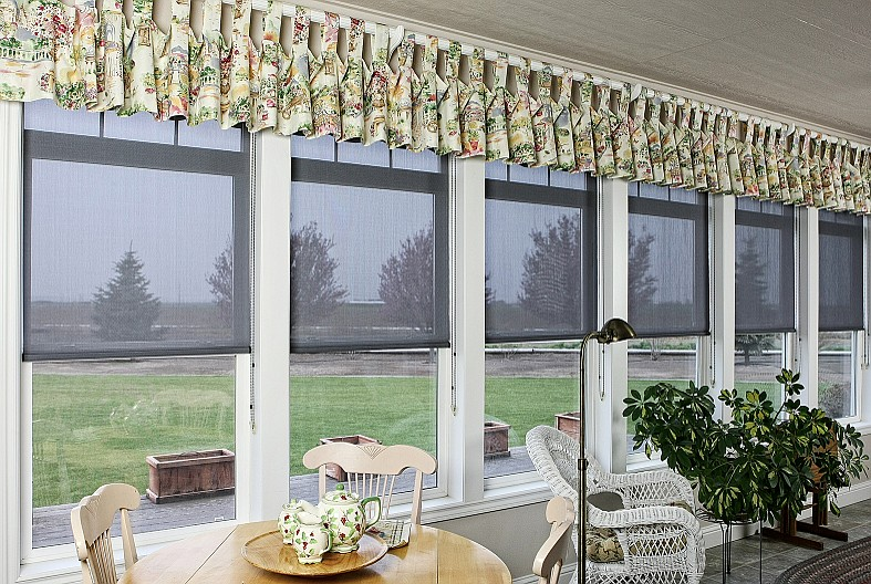 Solar shades, like the ones pictured, are popular with homeowners for their low maintenance and have increased in popularity in recent years.