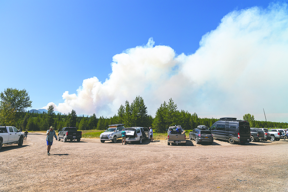 Smoke from the Hay Creek Fire burning on the Flathead Forest is seen from Polebridge on Thursday, July 22. (Chris Peterson/Hungry Horse News)