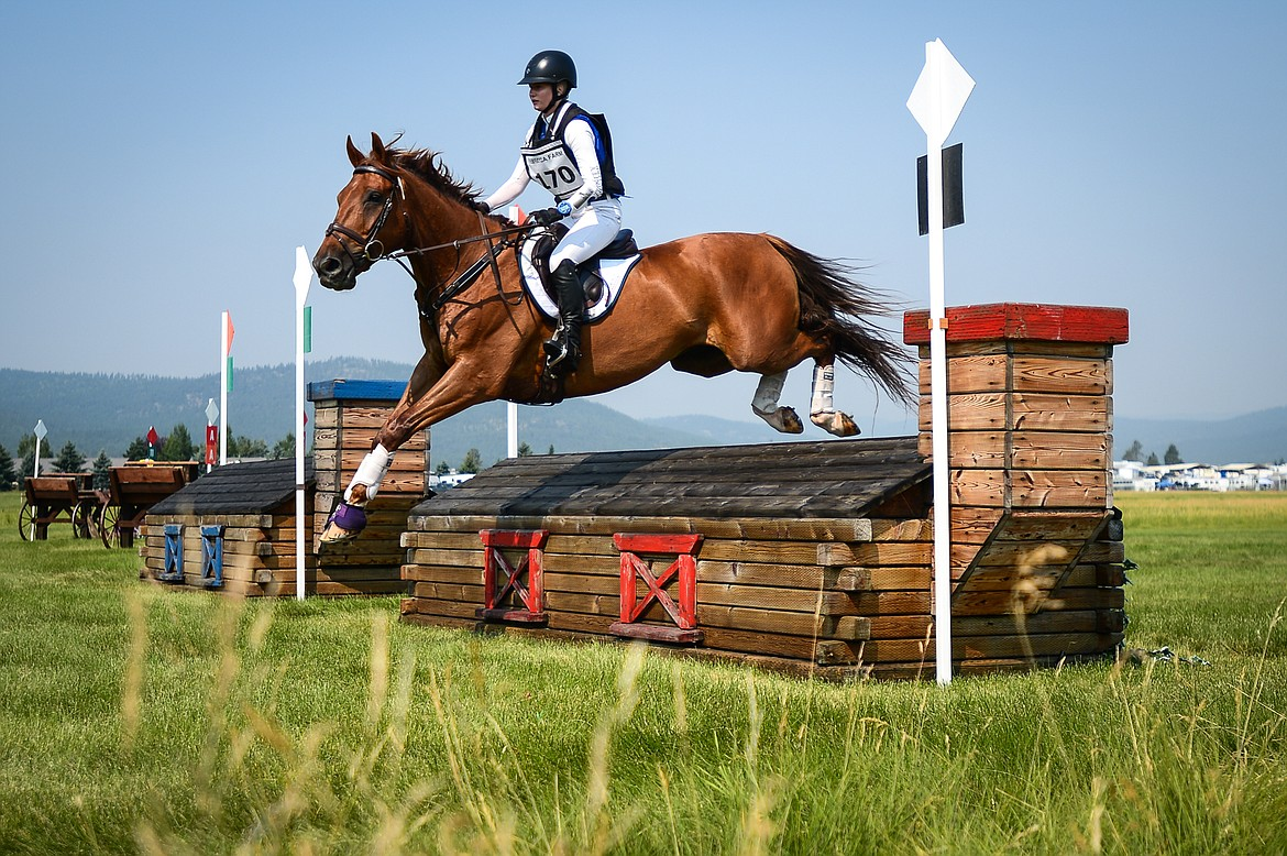 Jadyn Gooch rides Boolagh Brigadier over a jump during Training Three-Day Cross-Country at The Event at Rebecca Farm on Friday, July 23. (Casey Kreider/Daily Inter Lake)