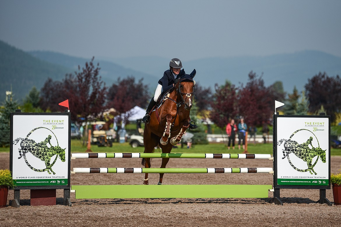 Jacqueline Cameron rides Penny Lane during Senior Open Novice B Show Jumping at The Event at Rebecca Farm on Friday, July 23. (Casey Kreider/Daily Inter Lake)