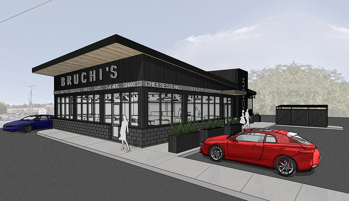 Courtesy photo This drawing shows the design of a new Bruchi's quick-service restaurant planned at the corner of Highway 41 and Mullan Avenue in Post Falls.