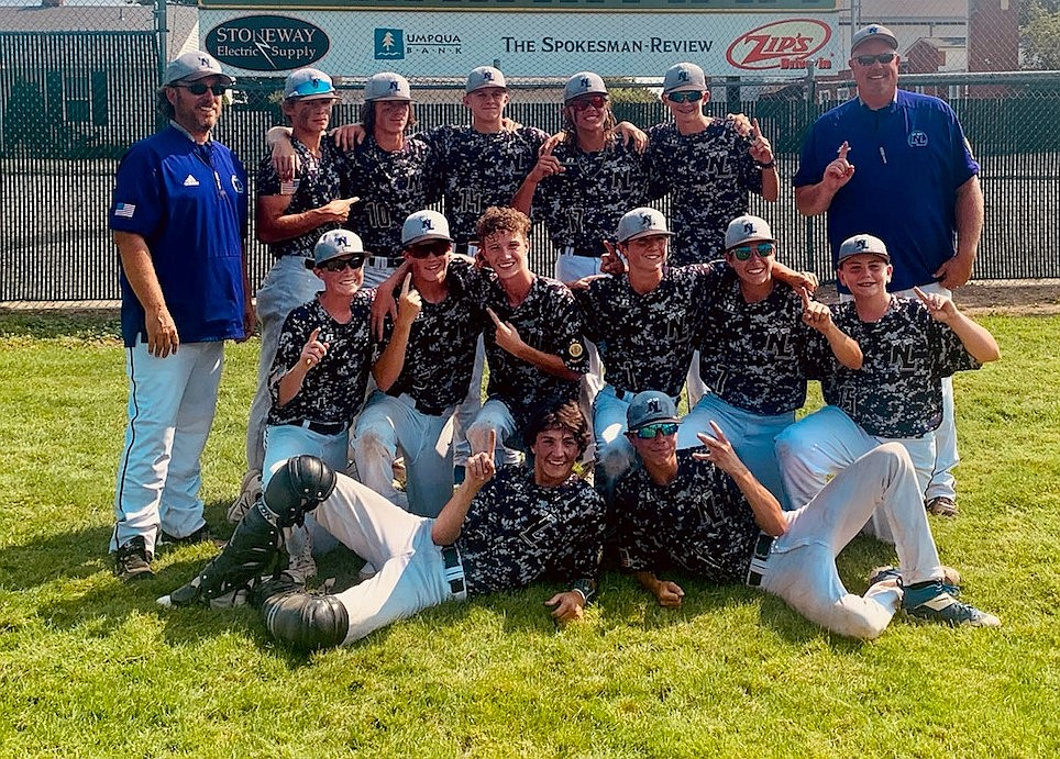 Courtesy photo The Northern Lakes Mountaineers 16U legion baseball team won the Washington state A tournament championship, beating the Pasco River Dogs 7-6 at Al K. Jackson Field in Spokane. Laying down are Jace Cooksey and Kenny Wells. In the front row, from left, are: Caleb Mason, Ty Gallimore, Darren Gosch, Cooper Lenz, Jacob Varner and Zach Blansfield. In the back are: coach Mike Menti, Jesse O'Conner, Tim Sheppard, Grant Allaway, Wyat Phillips, Colin Killian and head coach Blaine Johnson.
