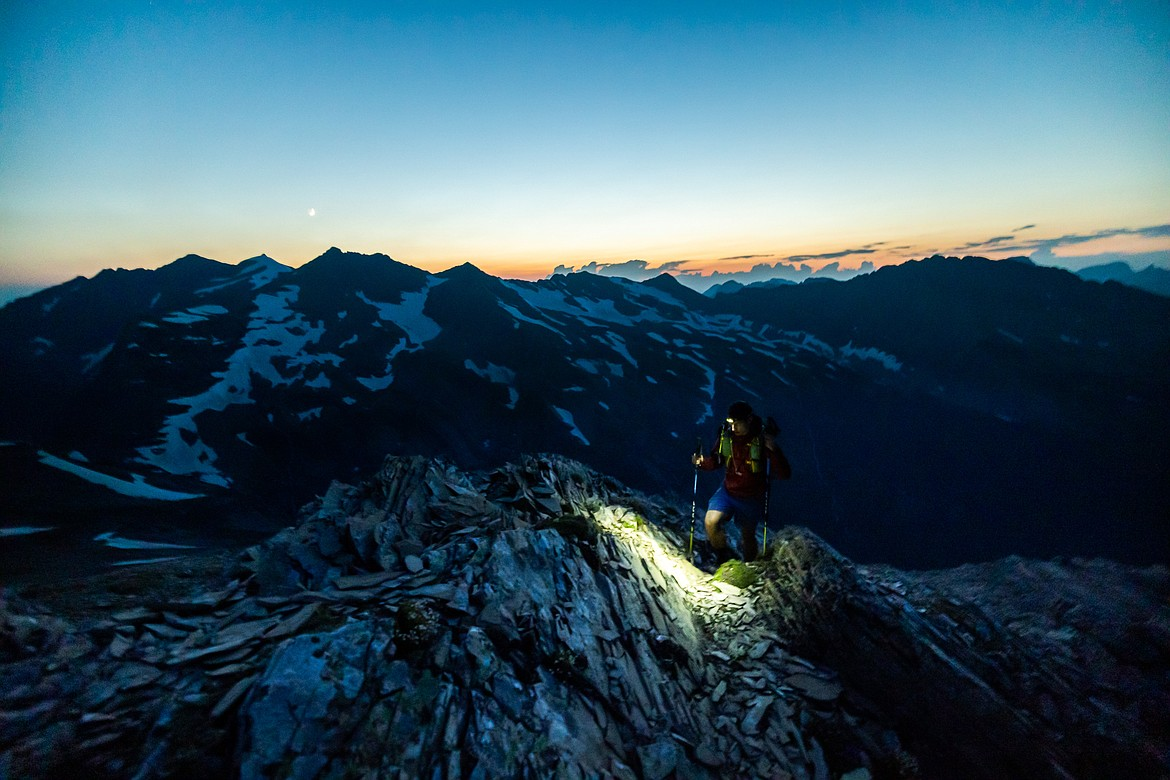 Greg Burfeind makes his way up the eastern ridge of Mount Jackson in Glacier National Park. (Courtesy of Noah Couser)
