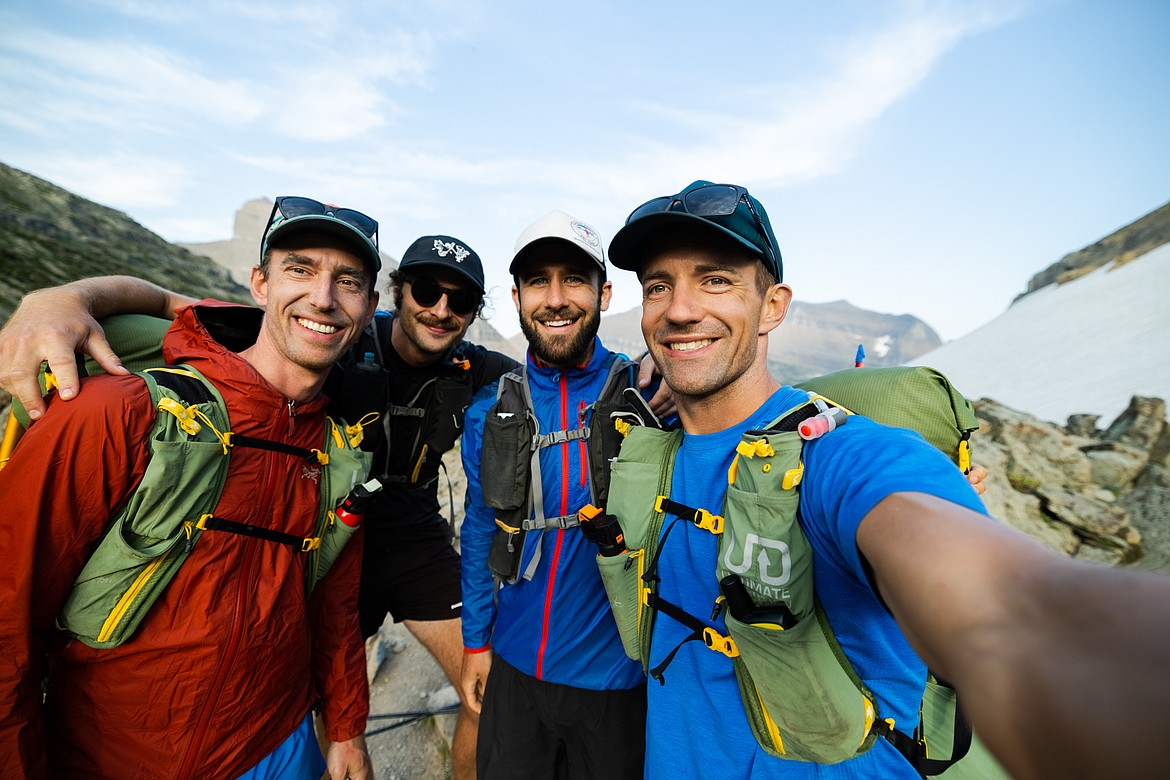 From left to right: Greg Burfeind, Colton Born, Charlie Hoving and Noah Couser pose for a photo in Glacier National Park. Born and Hoving tagged along during part of Burfeind and Couser's attempt to summit Glacier's six highest peaks in six days. (Courtesy of Noah Couser)
