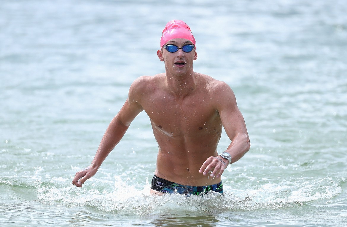 Caleb Norling nears the finish of the 26th annual Long Bridge Swim on Saturday. He was the top finisher from Sandpoint, placing ninth overall.