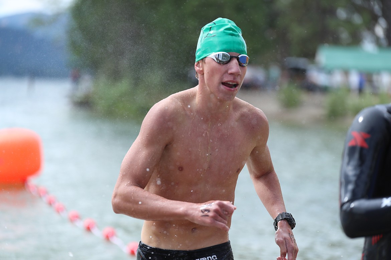 Hayden Leavitt crosses the finish line on Saturday.