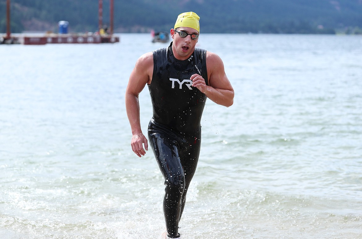 Logan Robillard gets out of the water and heads toward a first place finish on Saturday.