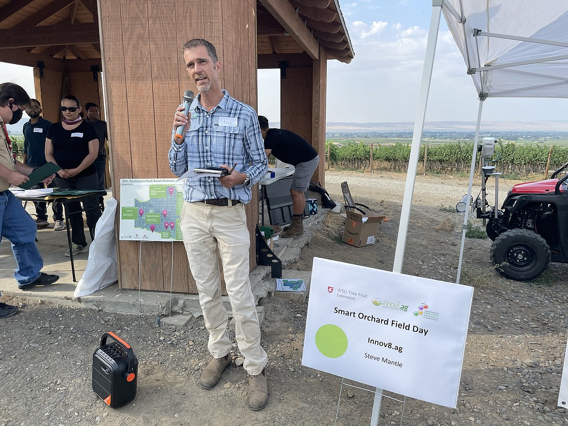 Steve Mantle, founder and CEO of Walla Walla-based innov8.ag, speaking at the start on innov8.ag's field day at Grandview Ranch, where the company has wired 16 acres of Honeycrisp apples for sensors as part of the company's ongoing Smart Orchard project.