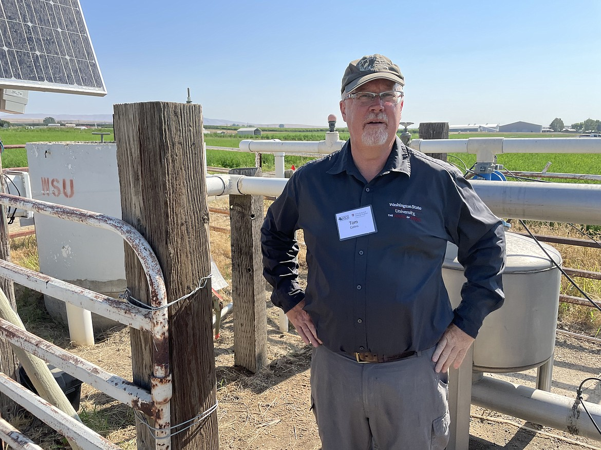 Washington State University researcher Tom Collins stand next to a weather station at the university's Irrigated Agriculture Research and Extension Center Roza Farm near Prosser, during a field day visit in late June to the farm's research vineyard organized by WSU and the Washington State Grape Society. The station is the first of 14 WSU plans to place across Washington's wine growing region.