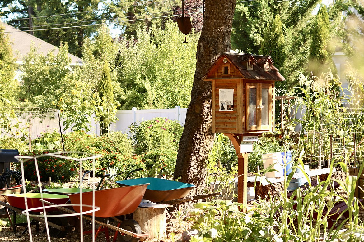 Shared Harvest Community Gardens on 10th Street and Foster Avenue in Coeur d'Alene has a book library for the community in the 60-plot garden. HANNAH NEFF/Press