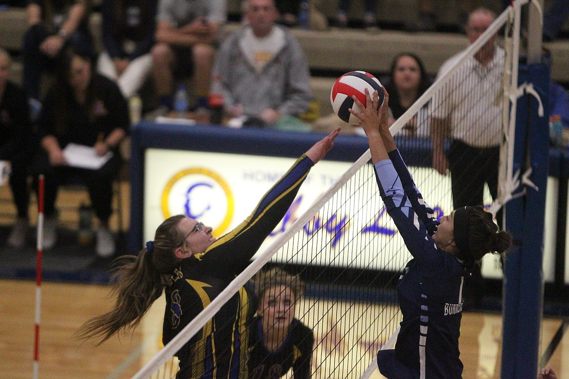 Libby's Meagan Stevens goes up for the block during the Lady Loggers Sept. 2 game against Bonners Ferry. (Will Langhorne/The Western News)
