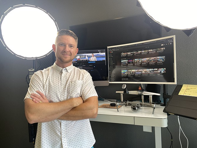 Trent Grandstaff, the face of the Living Life in North Idaho YouTube channel and founder of TG Squared Productions, stands in his downtown Coeur d'Alene studio.