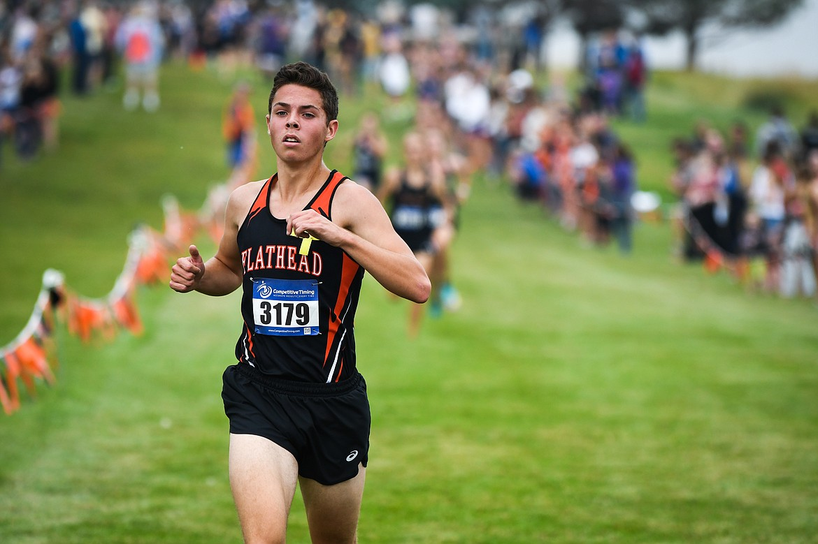 Flathead's Gabe Felton crosses the finish line in sixth place with a time of 16:49.97 at the Flathead Invite at Rebecca Farm on Friday, Sept. 10. (Casey Kreider/Daily Inter Lake)
