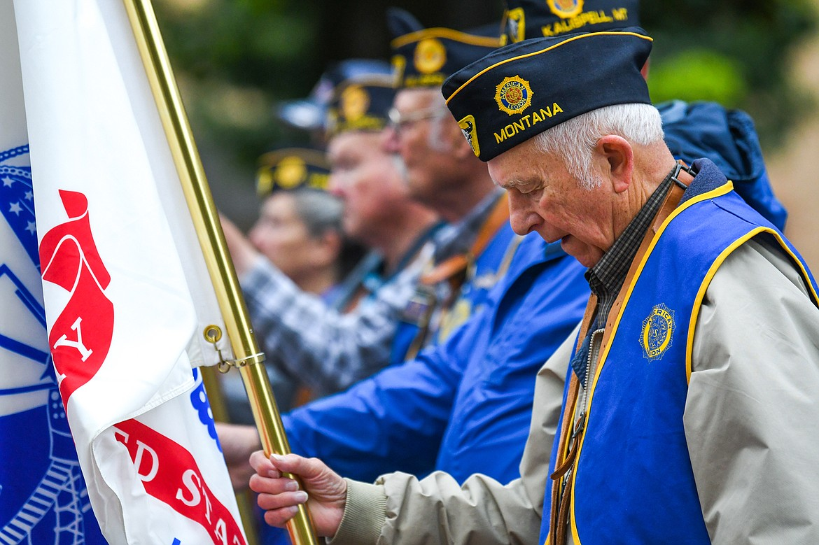 Kalispell American Legion Post 137 Historian Ron Bauer bows his head during a commemorative ceremony at Depot Park at the Post's 9/11 Freedom Walk on Saturday, Sept. 11. (Casey Kreider/Daily Inter Lake)