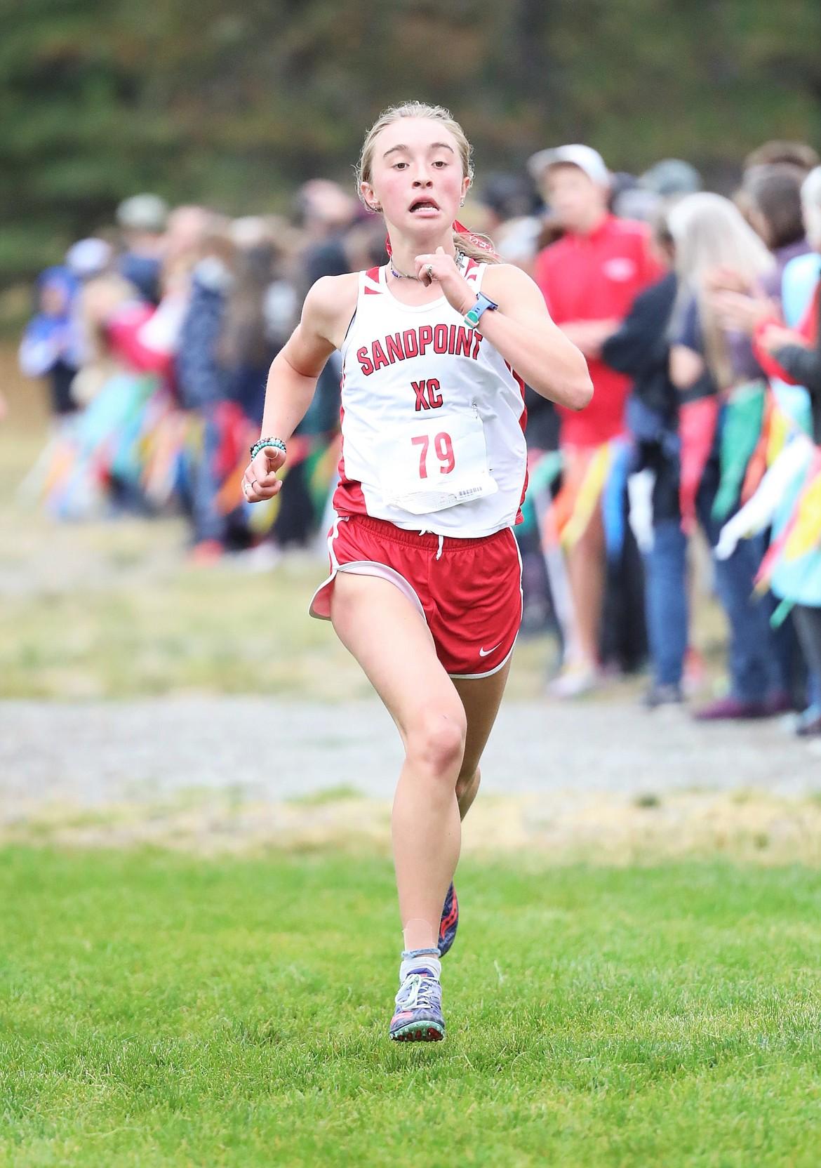 Grace Rookey nears the finish line on Saturday.