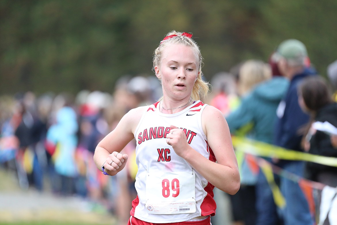 Mackenzie Suhy-Gregoire crosses the finish line on Saturday.