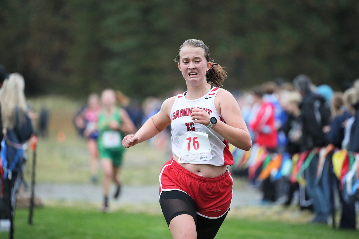Tiffany Brown nears the finish of the girls JV race.