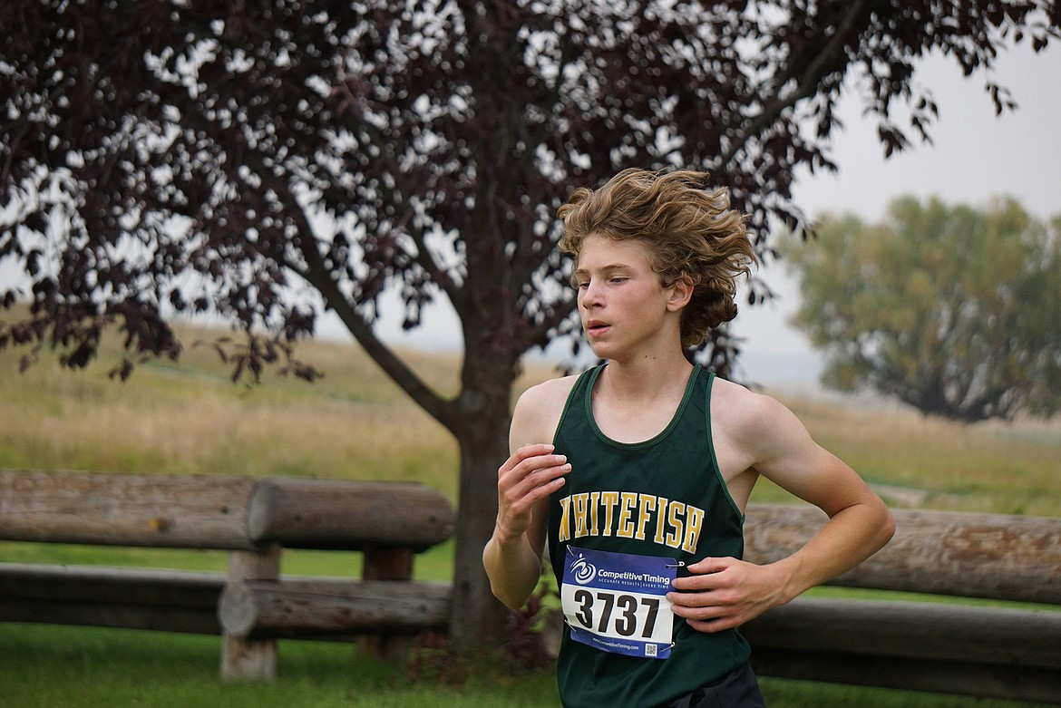 Whitefish freshman Ethan Amick earned a spot in the top 20 for men's junior varsity with a time of 19:43 at the Flathead Invite in Kalispell Friday. (Matt Weller photo)