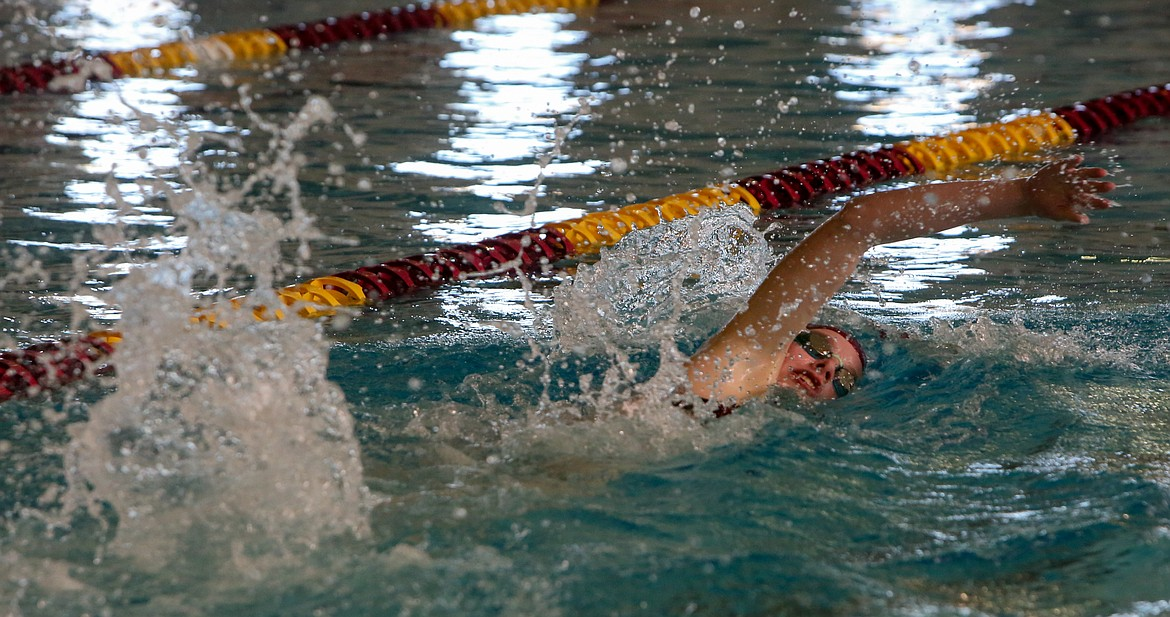 Moses Lake's Issabelle Parrish competes in the 200-yard freestyle event on Thursday at the Tony St. Onge Pool of Dreams.